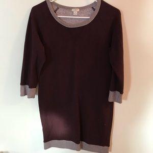 J. Crew Women's LongSleeve Maroon Sweatshirt Dress